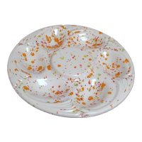Small Pottery Egg Plate Speckled Colors