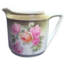 Hand Painted German Creamer with Roses and Gold Trim