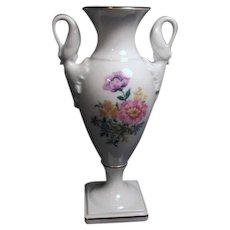 Hand Finished Vase with Swan Handles and Gold Trim