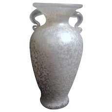 White Frosted Glass Double Handled Vase