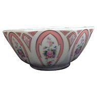 White Lefton Octagonal Bowl with Floral Panels