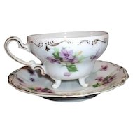 E.W. Princess China Footed Cup with Saucer Violets Pattern