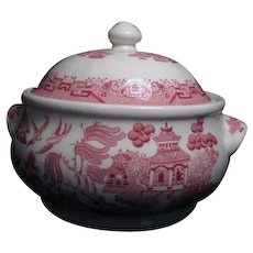 Pink Willow Rosa Pattern Covered Vegetable Bowl by Churchill