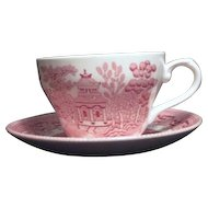 Set of Two Pink Willow Rosa Cup and Saucer