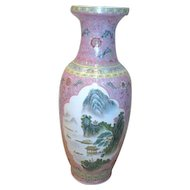 "Tall 25"" High Chinese Vase with Mountain Scenes"