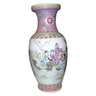 "Tall 18"" High Chinese Hand Painted Vase with Party and Boat"