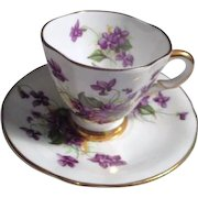 Coronation Bone china Cup and Saucer from England Violets Pattern