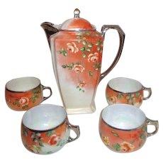 Coffee Pot with 4 Cups Bavarian Orange Roses with Platinum Trim