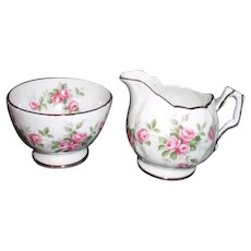 Aynsley England Mini Cream and Sugar Set Grotto Rose