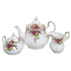Royal Albert Old Country Roses 3 Piece Tea Set Original Box