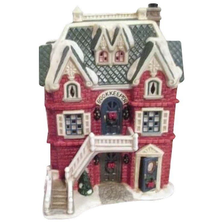 mervyns christmas village square ceramic bookkeeper home