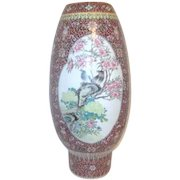 """20"""" High Hand Painted Chinese Vase with Bird Scenes"""