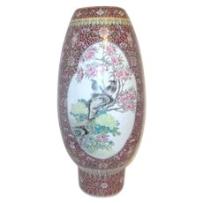 "20"" High Hand Painted Chinese Vase with Bird Scenes"