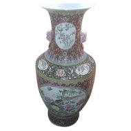 "37"" High Hand Painted Chinese Vase with Dog Face Handles"
