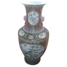 """37"""" High Hand Painted Chinese Vase with Dog Face Handles"""