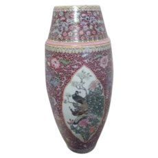 "19"" High Hand Painted Chinese Vase with Birds"