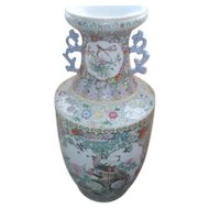 "33"" High Hand Painted Chinese Vase with Peacocks"