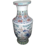 """29"""" High Hand Painted Chinese Vase with Birds in Forest"""
