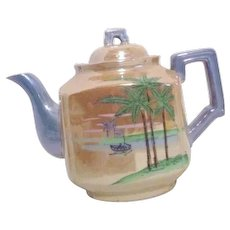 Japanese Lustreware Teapot with Hand Painted Asian Scene