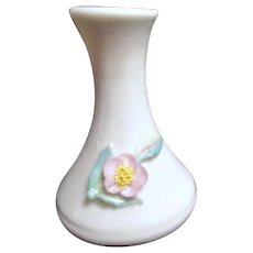 Small Irish Belleek Vase Hand Painted with Applied Flowers