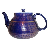 Hall Royal Blue with Gold Trim Tea Pot