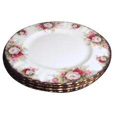 Set of 4 Royal Albert Salad(Dessert) Plates Celebration Pattern