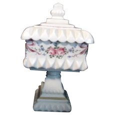 Westmoreland White Milk Glass Footed/Lidded Candy Dish