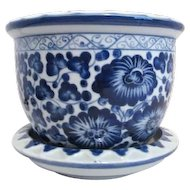Blue and White Planter Pot with Drain Bowl