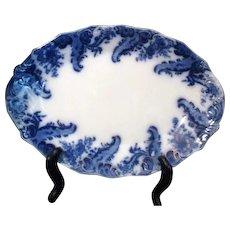 Antique Flow Blue Turkey Platter Argyle by Grindley c1881 Gold Highlights