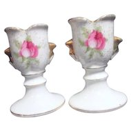 Pair of Dresden Rose Porcelain Candle Holders by Norcrest china co.