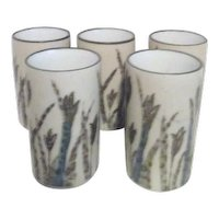 Set of 5 Pottery Juice Glasses Grass Motif