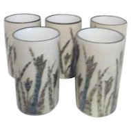 Set of 5 Pottery Juice Glasses Grass Motif