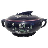 Hall Covered Casserole Dish Blue Garden  with Red Trim