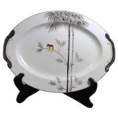Kutani China Handpainted Platinum Trim Two Owls on Branch Large Meat Platter
