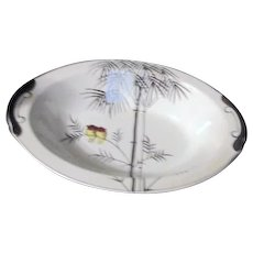 Kutani China Handpainted Platinum Trim Two Owls on Branch Open Vegetable Bowl