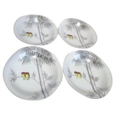Kutani China Handpainted Platinum Trim Two Owls on Branch Set of 4 Soup Bowls