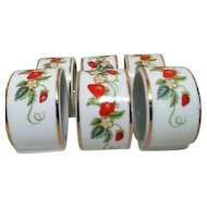6 Avon Ceramic Napkin Rings Strawberry Motif