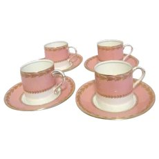 Royal Worcester Set of 4 Demitasse Cups and Saucers