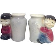 Royal Copley Pair of Vases with Asian Boy and Girl