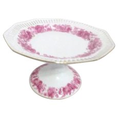 Schumann Arzberg Germany Footed Dessert Plate with Pink Roses c1945