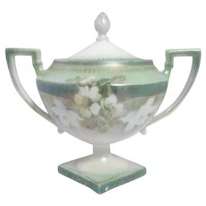 RS Prussia Green and White Footed Covered Sugar Bowl with Platform Base