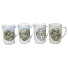 Currier and Ives 4 Seasons Mugs or Cups from Armbee San Francisco