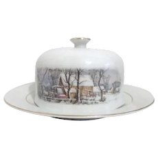 Avon Covered Butter Dish Currier and Ives Winter Scene Decoration