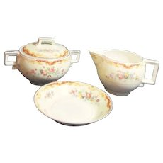 Johnson Brothers Pareek Covered Sugar, Small Bowl and Creamer from England