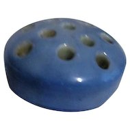 Round Blue Ceramic Flower Frog Marked Japan