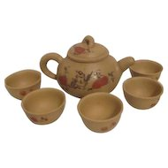 Hand Decorated Asian Clay Tea Pot with 5 Cups