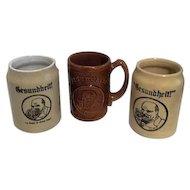 Three Gesundheit Beer Mugs/Steins from 1930's