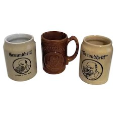 Three Gesundheit Beer Mugs/Steins from 1930's