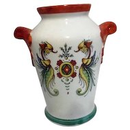 Czechoslovakian Double Handled Vase with Two Angry  Creatures