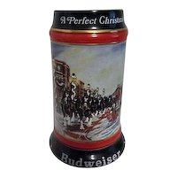 Budweiser Ceramic Christmas Beer Stein 1992
